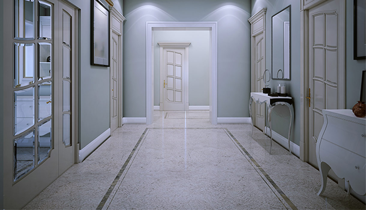 Elegant Terrazzo floor hallway with a green border down the middle
