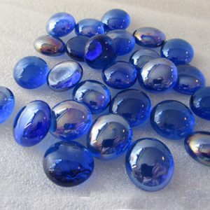 Collection of small ink blue glass beads