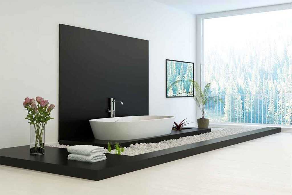 Decorative white pebbles used to surround bathtub