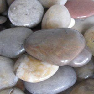 Collection of mixed polished cobble stones