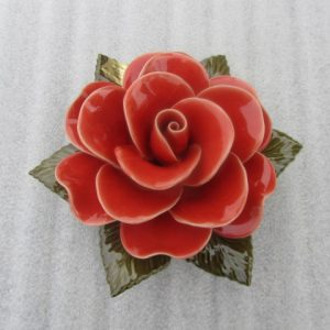 Ceramic Coral Rose for Graves. 17cm