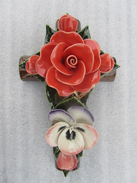 Ceramic Cross with Pensee and Coral Rose for Graves