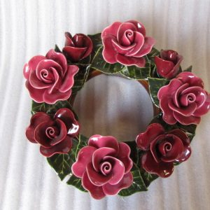 Ceramic Wreath with Red Roses 30cm
