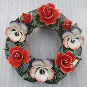 Ceramic Wreath with Pensees and Coral Roses. 30cm