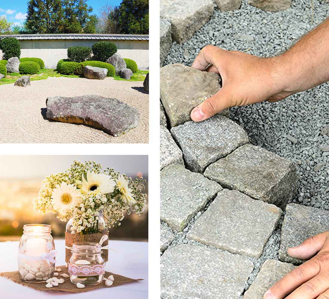 Natural stone, pebbles and chippings used for outdoor patio or indoor decoration