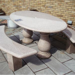 Midland Stone Garden Furniture Oval table and benches