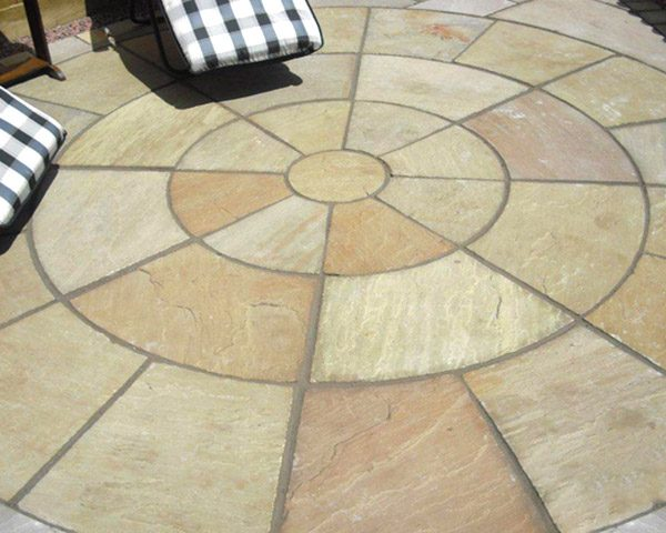 Mint Circle Paving Stone with sun loungers