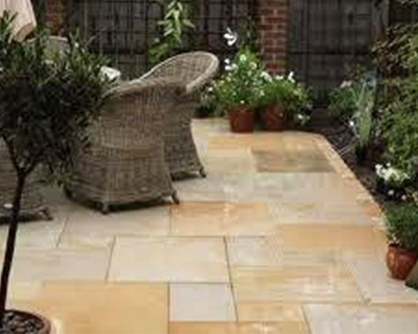 Natural Paving Stone area with garden furniture