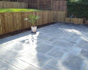 Midland Stone Grey Mixed Natural Paving Stone with tiered garden area