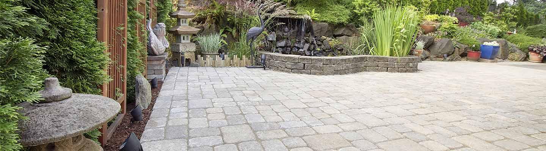 sandstone paving cubes in garden