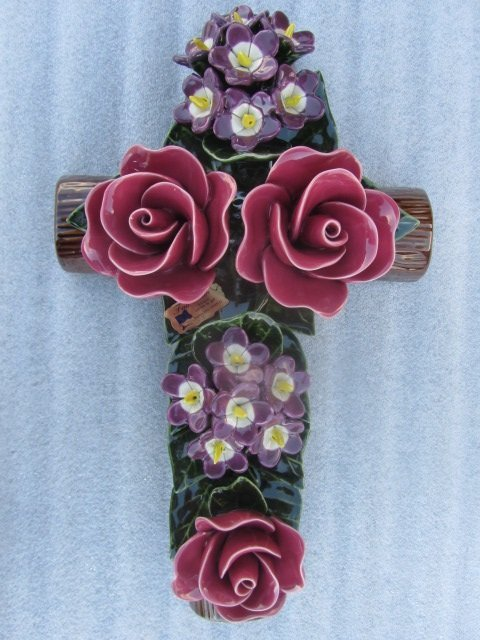 Rose Violette cross used for grave 40cmH