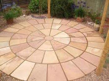 Modak Sandstone Paving Slabs Circular Arrangement