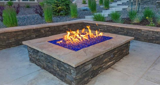 Decorative building stone used in garden fireplace and wall