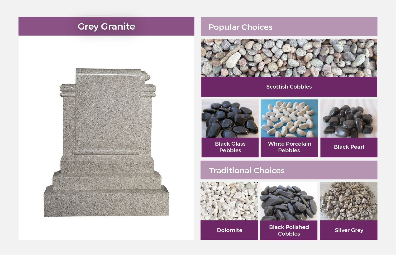 Grey Granite Headstone Pairing Stones