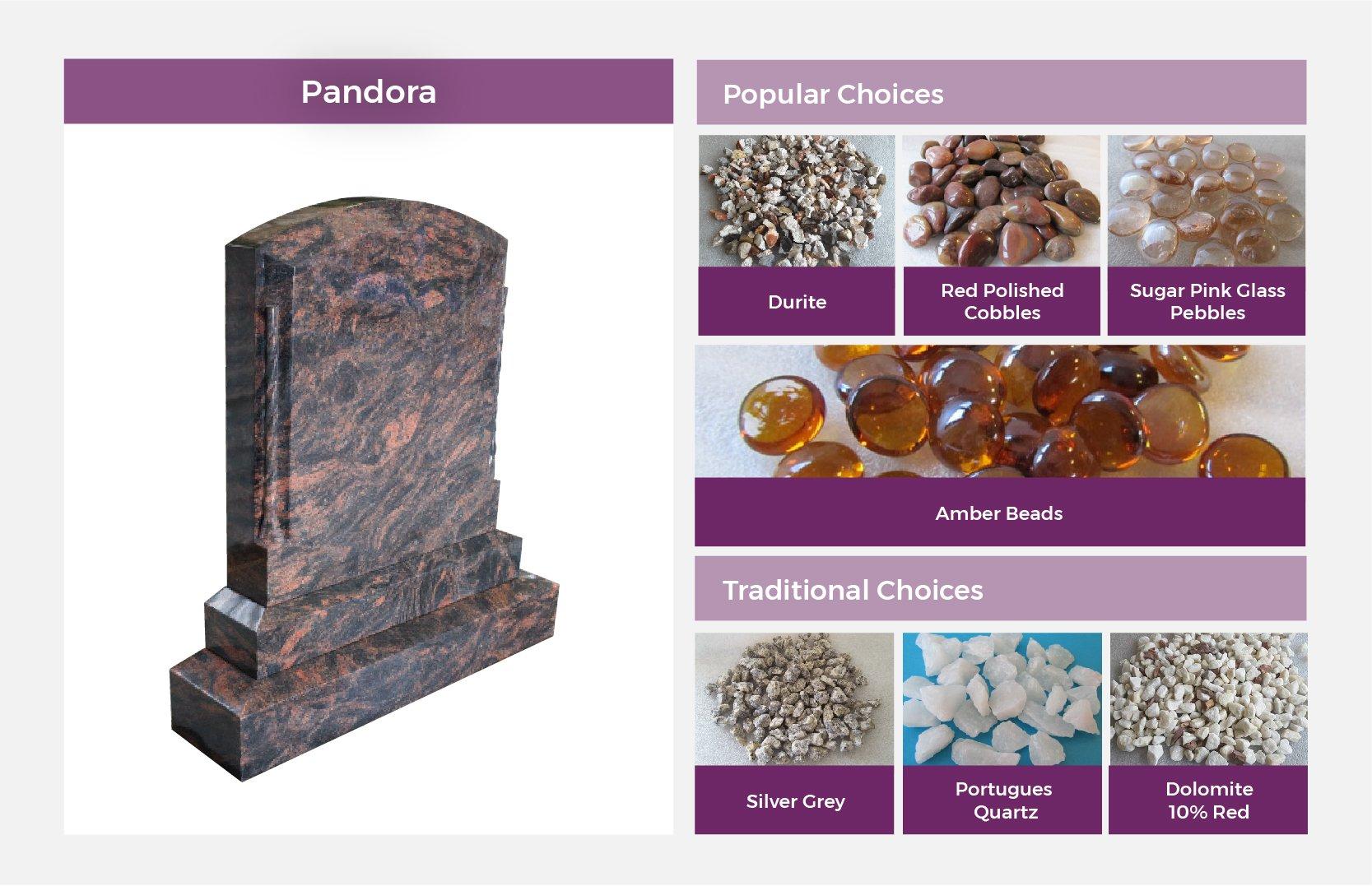 Pandora Headstone matched stones