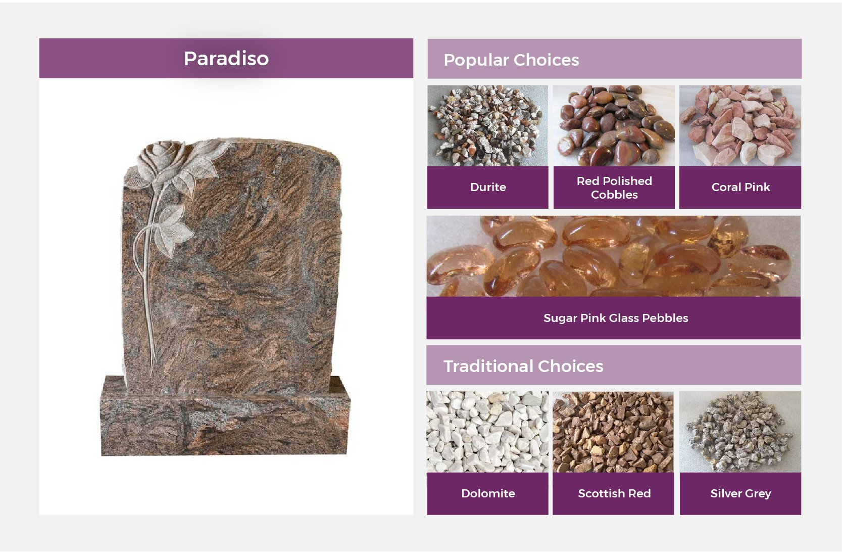 Paradiso Headstone matching stones