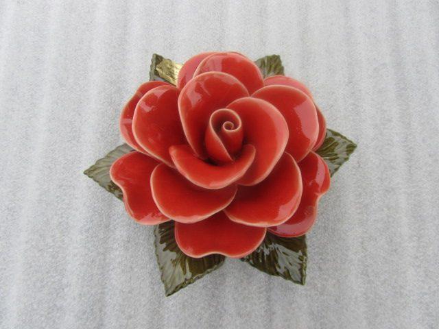 Ceramic Coral Rose for Graves. 17cm