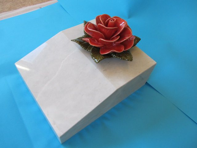 Coral Rose in White Splayed Mounting for Graves. 17cm