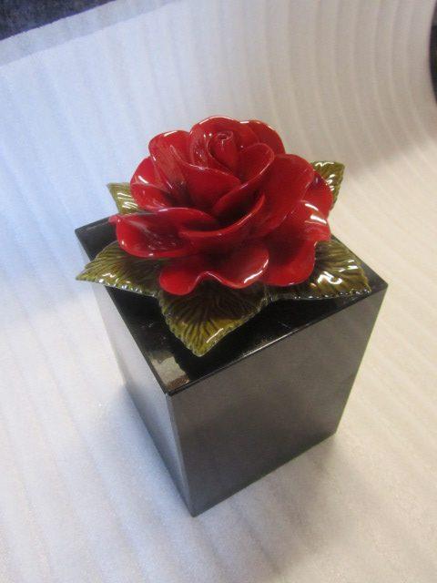 Ceramic Red Rose in Black Stone Pot for Graves