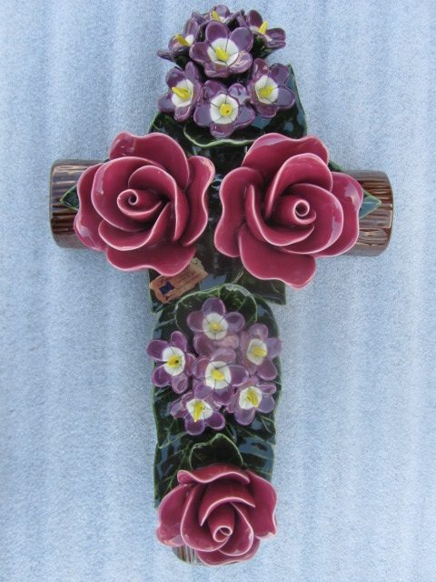 Ceramic Cross with Violette and Red Roses 40cm